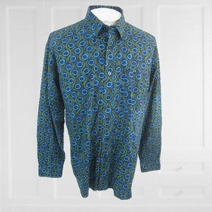 Alan Flusser men casual dress long sleeve shirt XL